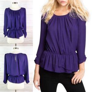 Joie Top Tevy Gathered Peplum Silk Blouse Shirt S